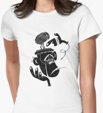 Numb Skull Monkey Womens Fitted T-Shirt