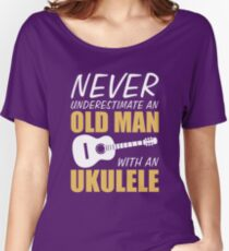 Old Man With Ukulele  Women's Relaxed Fit T-Shirt