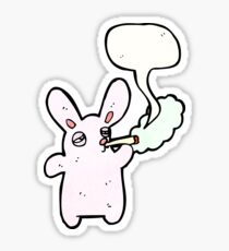rabbit smoking cigarette cartoon Sticker