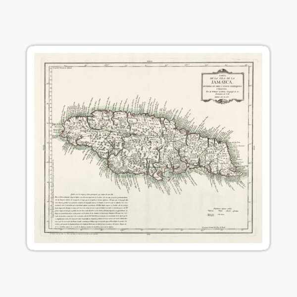 Map of Jamaica - 1780 Sticker