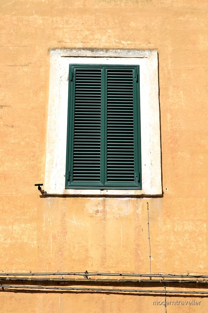 Green shutters, yellow wall - Italy by moderntraveller