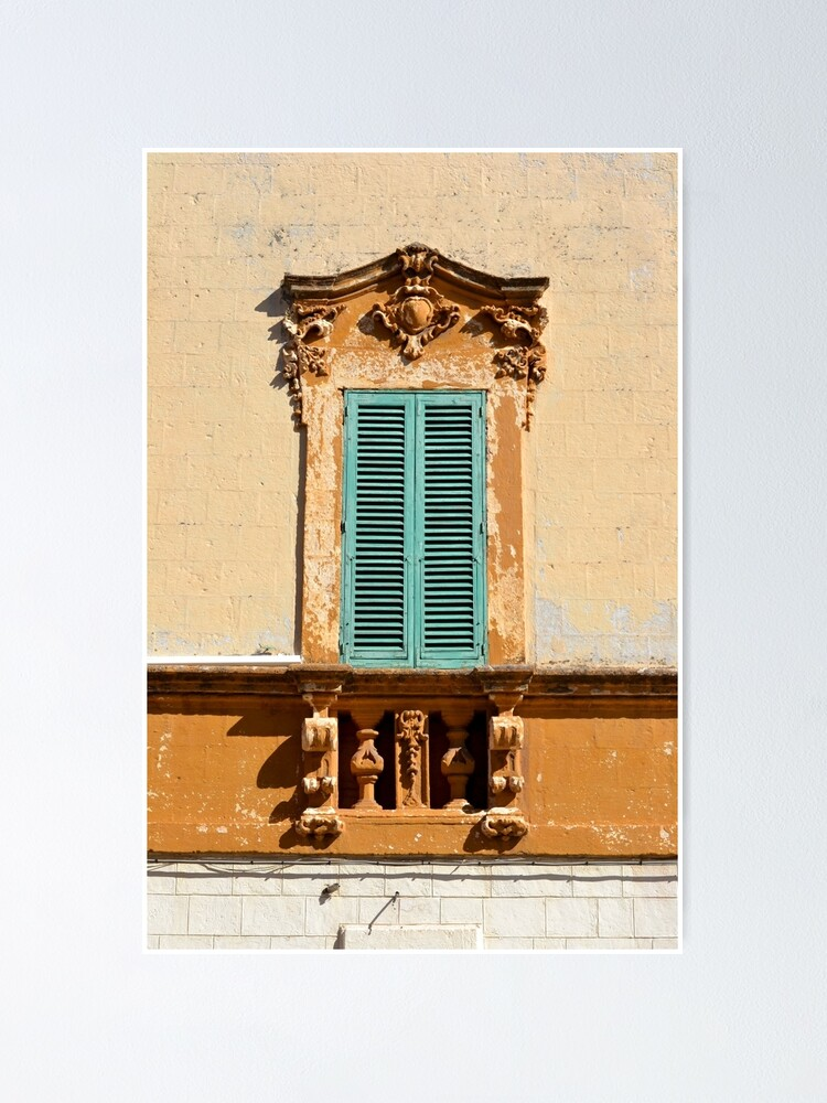 Alternate view of Ornate window frame in bright wall, Italy Poster