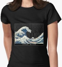 Hokusai japan rain Womens Fitted T-Shirt