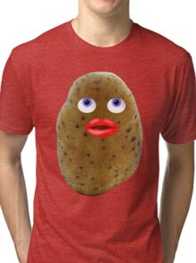 Funny Potato Cute Character With Blue Eyes Tri-blend T-Shirt