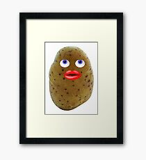 Funny Potato Cute Character With Blue Eyes Framed Print