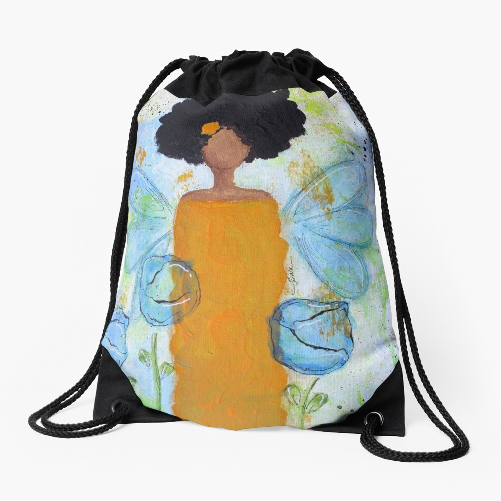 Sistah Stand Angel, African American Drawstring Bag Front