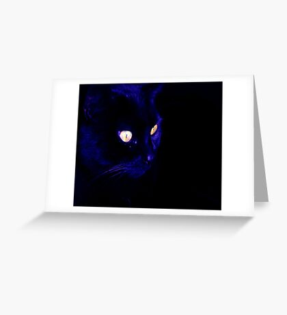 Black Cat With Haunting Halloween Eyes Greeting Card