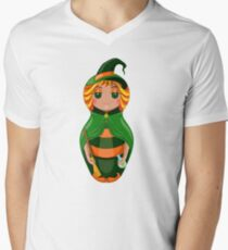 Nested doll in a suit of the witch a Halloween in a green raincoat with a sweeper and a potion in hands Men's V-Neck T-Shirt