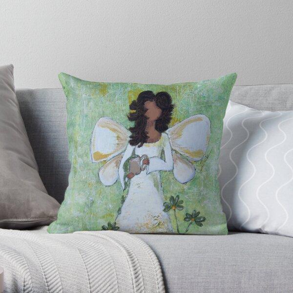 Angel of Abundance, African American, Angel, Black Angels, Latina Throw Pillow