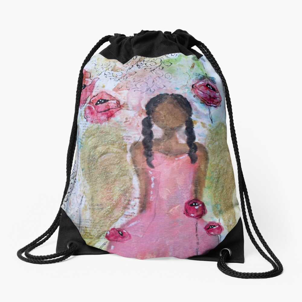 Angel of Growth, Black Angel, African American, Latina Drawstring Bag Front
