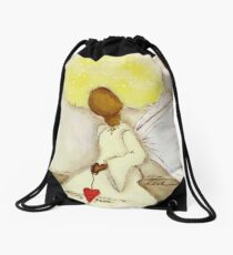 Angel of Love Again, African American, Latina Drawstring Bag