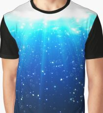 Deep Water Bubbles Dark Blue Color Illuminated By Rays Of Light Graphic T-Shirt