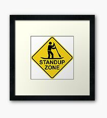 Standup Paddleboarding Zone Road Sign Framed Print