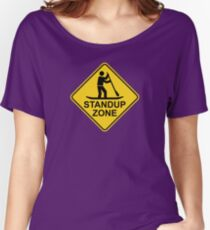 Standup Paddleboarding Zone Road Sign Women's Relaxed Fit T-Shirt