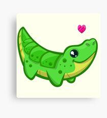 Cute crocodile love cartoon Canvas Print