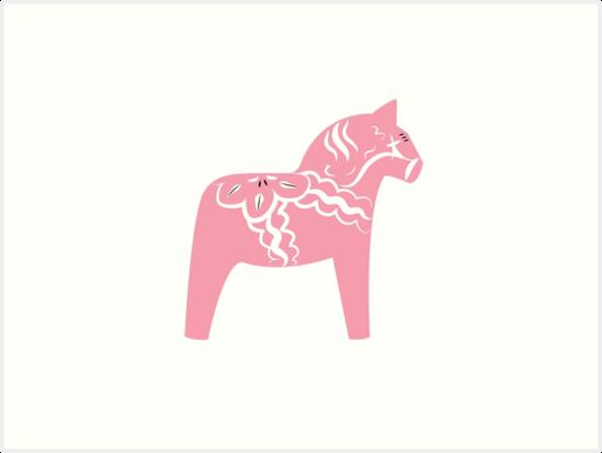 Rosa Dala Horse Swedish Wooden Horse von craftee