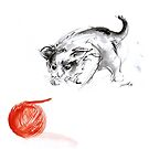 Cat and wool cats poster, sumi-e art print by Mariusz Szmerdt