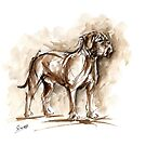 Dog de bordeaux watercolor painting, dog art print by Mariusz Szmerdt