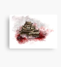 Japanese castle sumi-e painting, japanese art print for sale Canvas Print