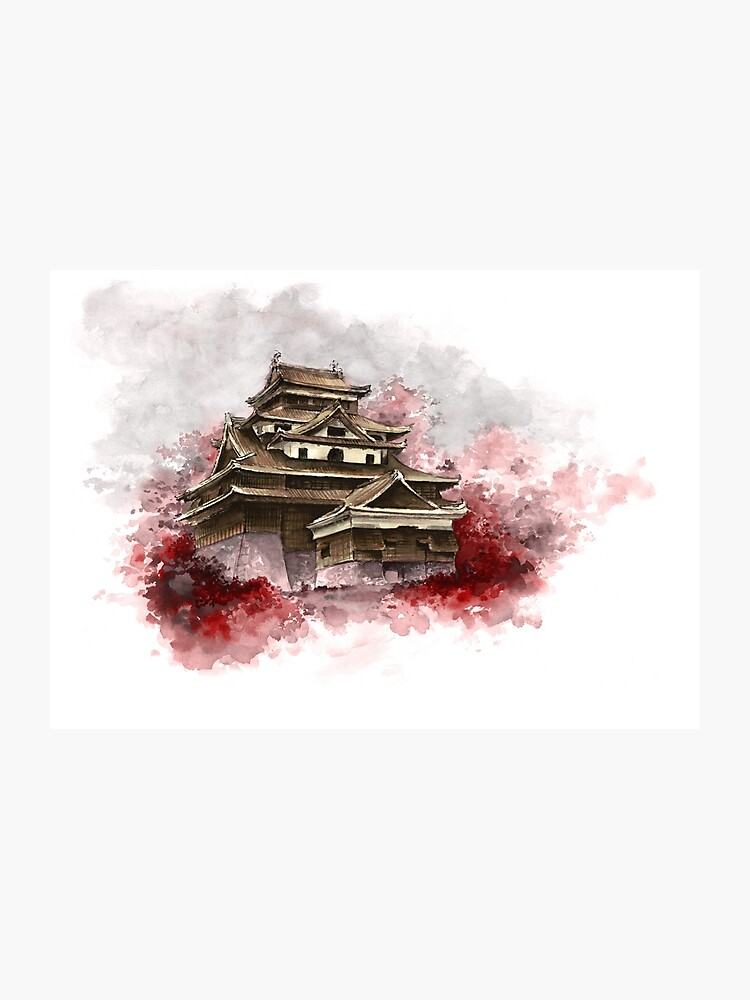 Japanese castle sumi-e painting, japanese art print for sale | Photographic  Print