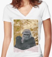 Human sight of a gorilla panasonic FZ 1000 by Olao Olavia Créations Women's Fitted V-Neck T-Shirt
