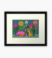 vector fantastic night forest with fabulous animals Framed Print