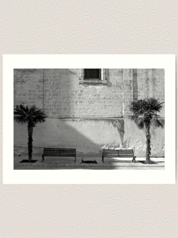 Alternate view of Monochrome bench and trees, Puglia Art Print