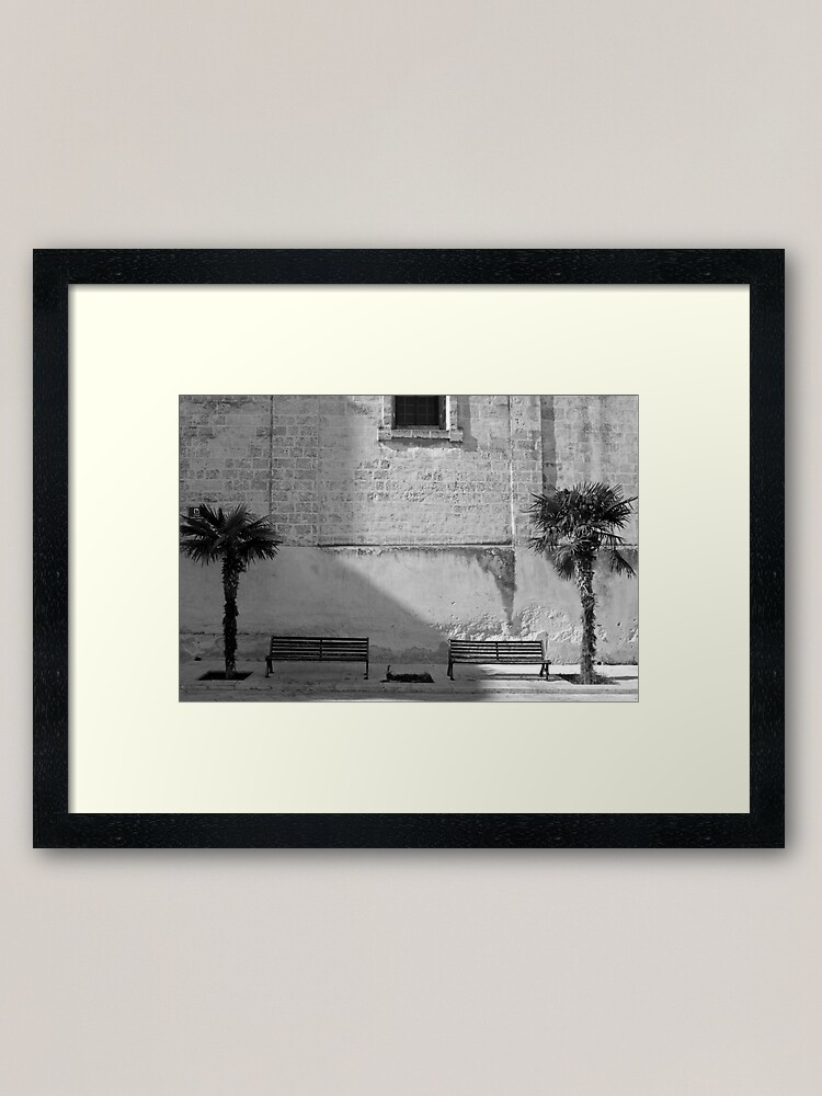 Alternate view of Monochrome bench and trees, Puglia Framed Art Print