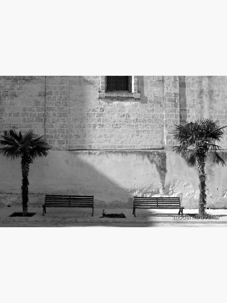 Monochrome bench and trees, Puglia by moderntraveller