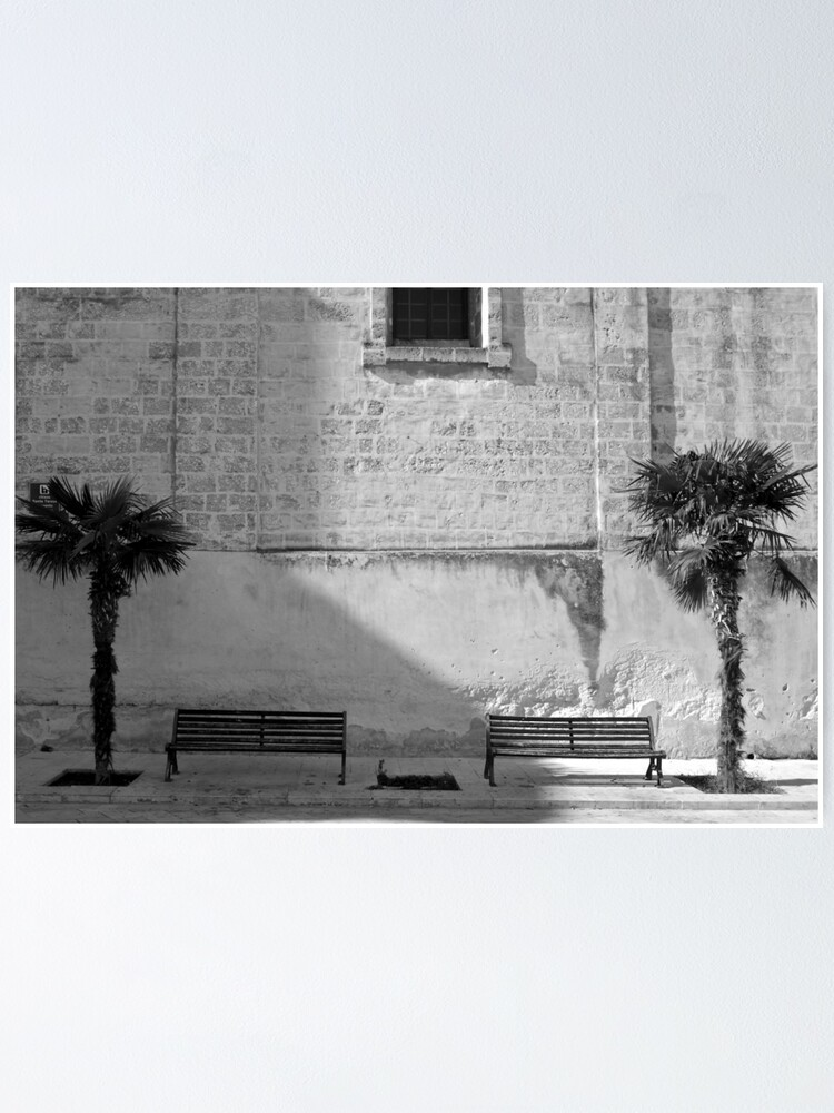 Alternate view of Monochrome bench and trees, Puglia Poster