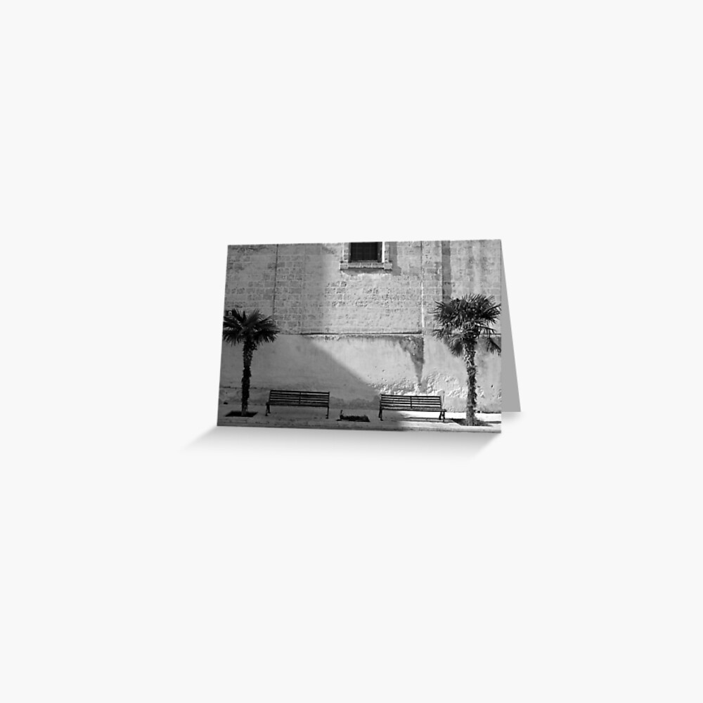 Monochrome bench and trees, Puglia Greeting Card