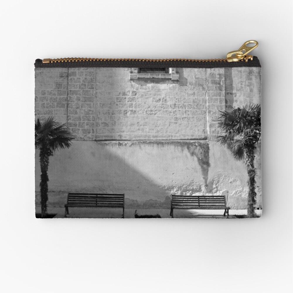 Monochrome bench and trees, Puglia Zipper Pouch