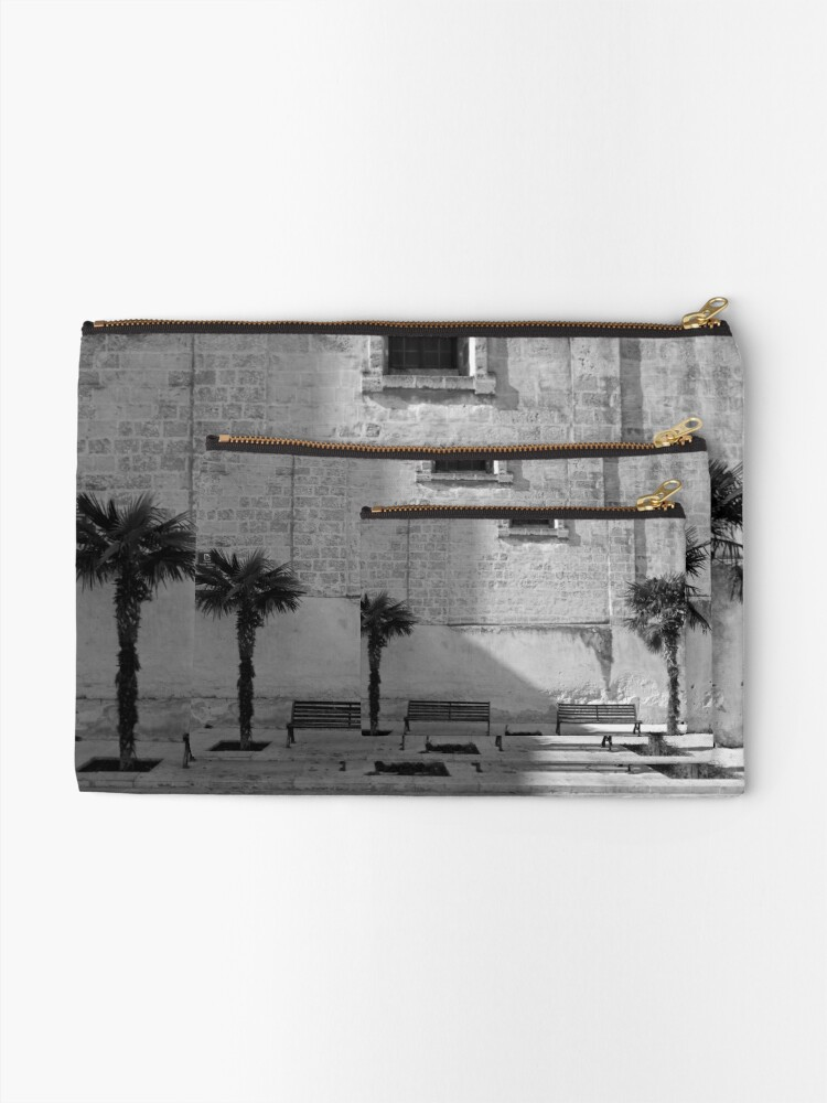 Alternate view of Monochrome bench and trees, Puglia Zipper Pouch