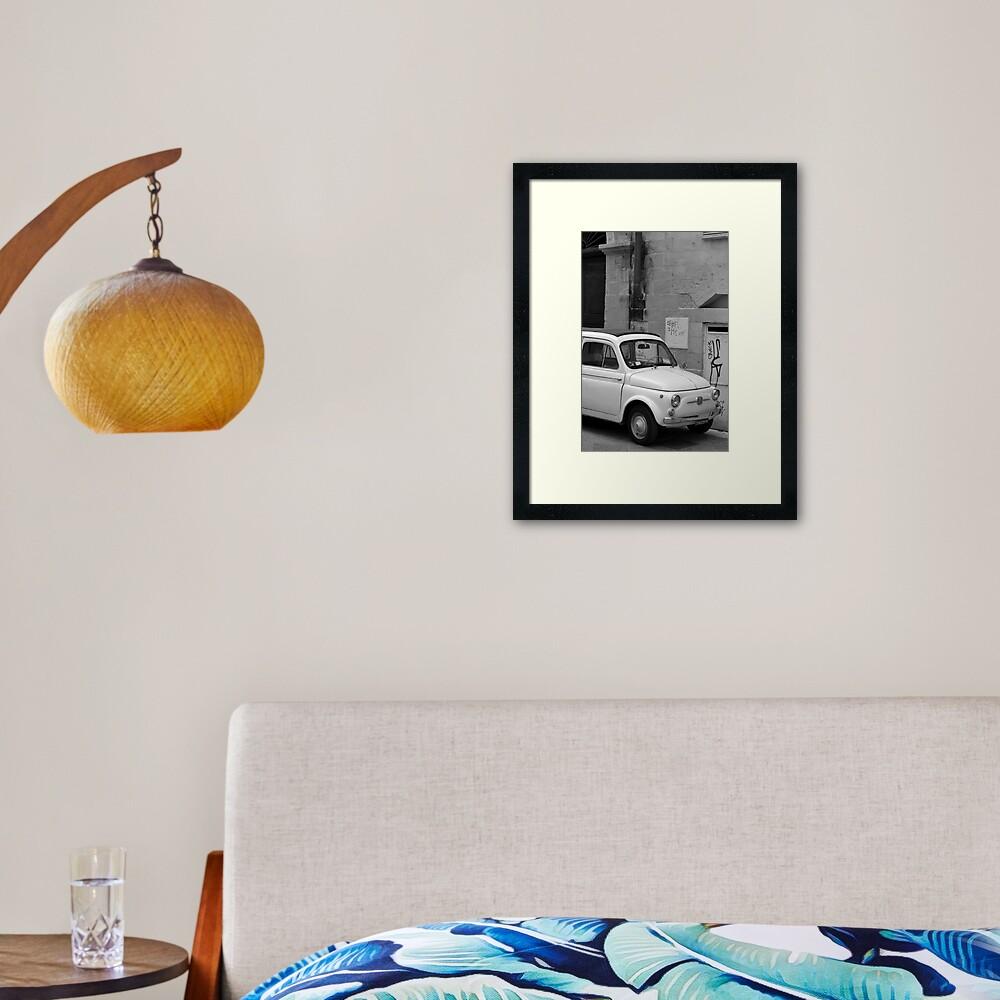 Fiat 500 in the street, Puglia Framed Art Print