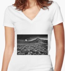 Giants Causeway Moonrise Women's Fitted V-Neck T-Shirt