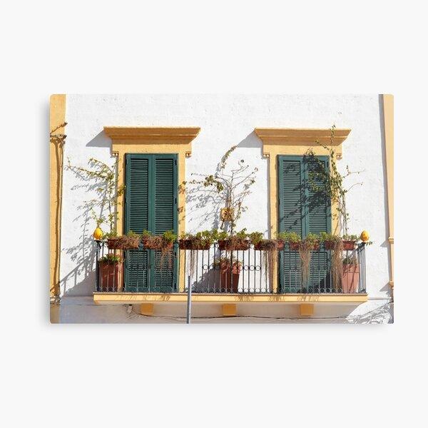 Bright balcony, beautiful shutters - Puglia Metal Print