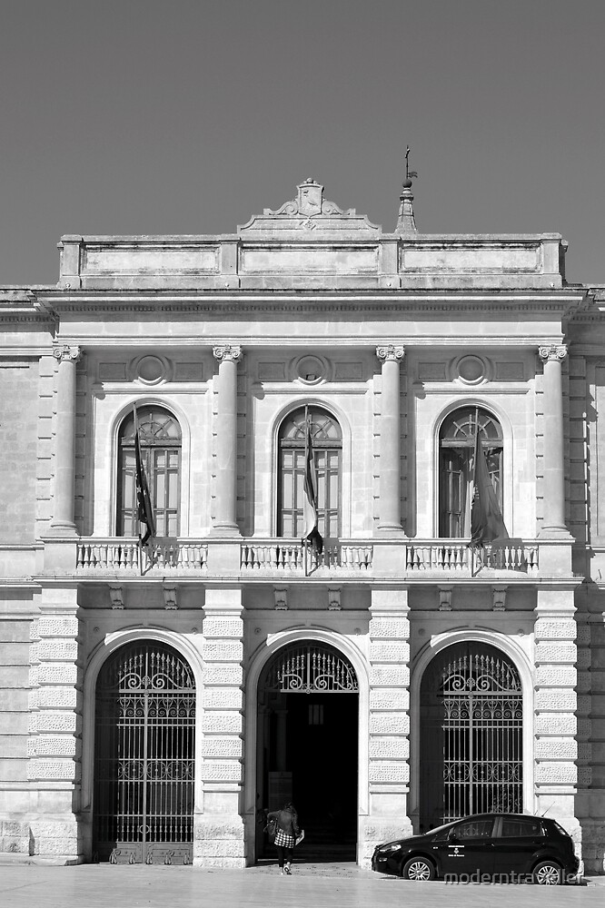 Monochrome town hall frontage, Puglia by moderntraveller