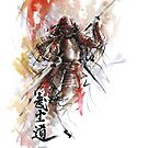 Watercolor samurai art print, best men gift by Mariusz Szmerdt