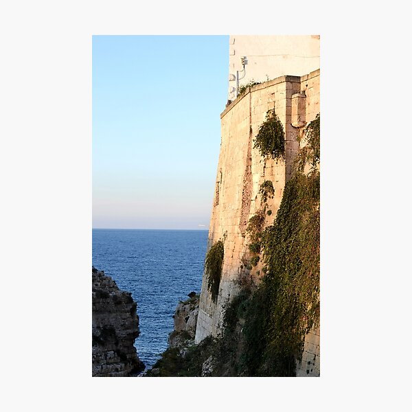 Beachside wall at sunset, Puglia Photographic Print