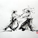 Samurai fight large poster, martial arts art work by Mariusz Szmerdt