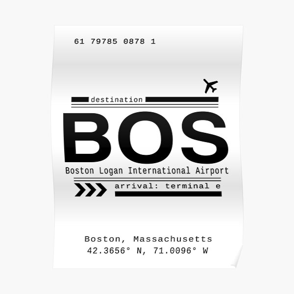 BOS, Boston Logan International Airport Call Letters Print Poster