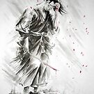 Samurai warrior art print, watercolor large poster by Mariusz Szmerdt