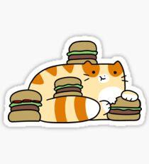 Tabby Cat Eating Burgers Sticker