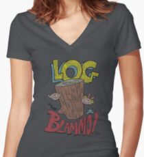 Log by Blammo (Retro Distressed Look). Women's Fitted V-Neck T-Shirt