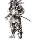 Samurai old armor artwork, japanese ideas painting by Mariusz Szmerdt