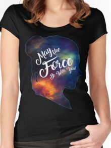 May the Force be With You - Carrie Fisher -Princess Leia Tribute Shirt Women's Fitted Scoop T-Shirt