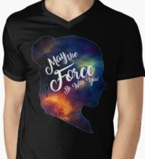 May the Force be With You - Carrie Fisher -Princess Leia Tribute Shirt Men's V-Neck T-Shirt