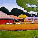 "Australian Backyard with Hills Hoist by Belinda ""BillyLee"" NYE (Printmaker)"