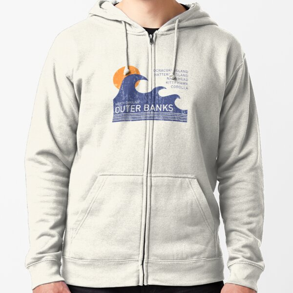 Outer Banks NC Waves Zipped Hoodie