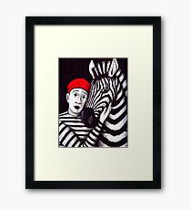 Zebra and Mime pen, ink, and colored pencils drawing Framed Print